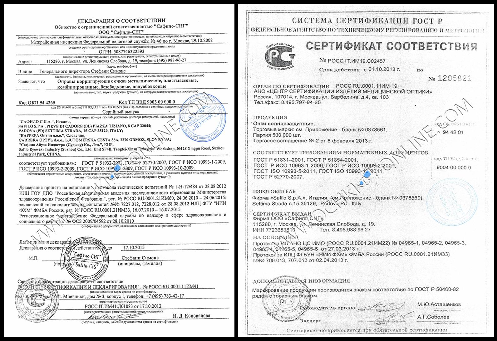 Сертификаты соответствия Safilo Group S.p.A.